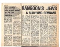RANGOON'S JEWS- A SURVIVING REMNANT. S.A. Jewish Times. March 2