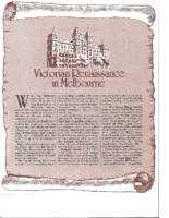 VICTORIAN RENAISSANCE IN MELBOURNE. Soma Magazine. Date Unknown