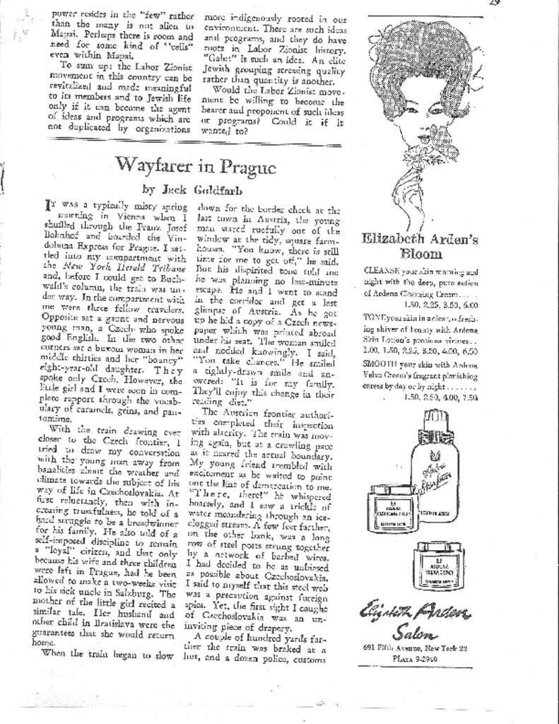 thumbnail of WAYFARER IN PRAGUE. The Jewish Frontier. September, 1960