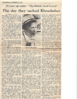 THE DAY THEY SACKED KHRUSCHCHEV. The Jerusalem Post. Wednesday, October 16, 1974.