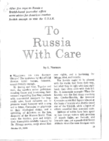 TO RUSSIA WITH CARE. Pt.1. The Review of The NEWS. October 31, 1973.