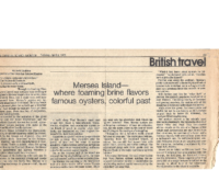 MERSEA ISLAND-WHERE FOAMING BRINE FLAMOURS OYSTERS, COLORFUL PAST. The Christian Science Monitor (Boston). Tuesday, April 8, 1975.