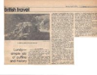 Original LUNDY-SIMPLE ISLE OF PUFFINS AND HISTORY. British Travel- The Christian Science Monitor. Monday, April 14, 1975.